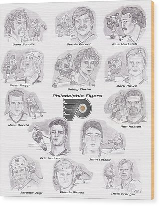 Wood Print featuring the drawing Flyer Greats by Chris  DelVecchio