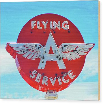 Flying A Service Sign Wood Print by Joan Reese