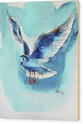 Flying Bird Wood Print by Kovacs Anna Brigitta