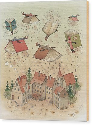 Flying Books Wood Print by Kestutis Kasparavicius