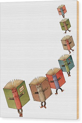 Flying Books02 Wood Print by Kestutis Kasparavicius