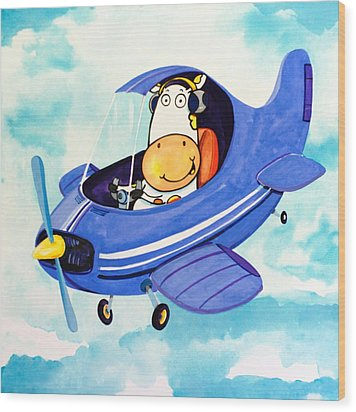 Flying Cow Wood Print by Scott Nelson