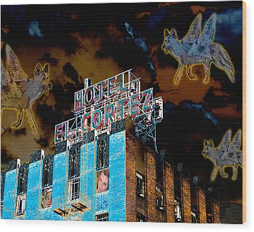 Flying Coyotes Circling The El Cortez Hotel Wood Print