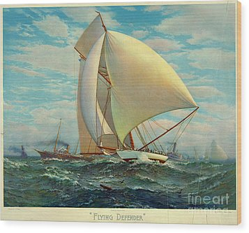Wood Print featuring the photograph Flying Defender 1895 by Padre Art