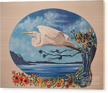 Wood Print featuring the painting Flying Egret by Sigrid Tune