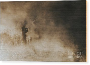 Wood Print featuring the photograph Flying Fishing by Iris Greenwell