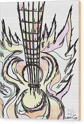 Flying Guitar  Wood Print by Levi Glassrock
