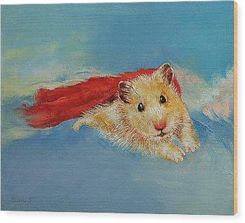 Hamster Superhero Wood Print by Michael Creese