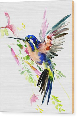 Flying Hummingbird Ltramarine Blue Peach Colors Wood Print