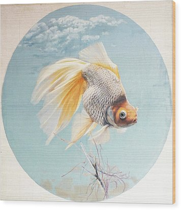 Flying In The Clouds Of Goldfish Wood Print by Chen Baoyi
