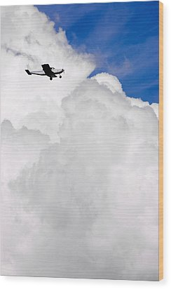 Flying In The Storm Wood Print by Steve Shockley