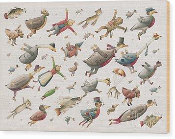 Flying Wood Print by Kestutis Kasparavicius