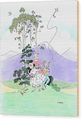 Flying Kites Wood Print by Frances  Dillon
