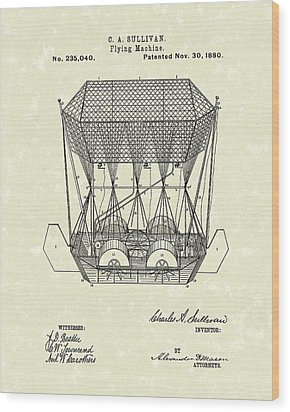 Flying Machine 1880 Patent Art Wood Print by Prior Art Design