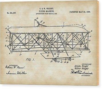 Flying Machine Patent 1903 - Vintage Wood Print