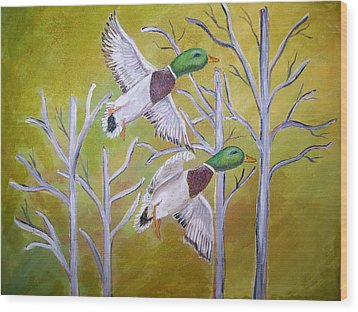 Flying Mallards Wood Print by Belinda Lawson