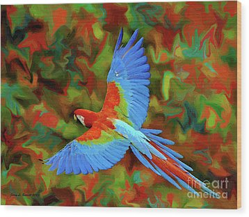 Flying Parrot Wood Print by Jerry L Barrett