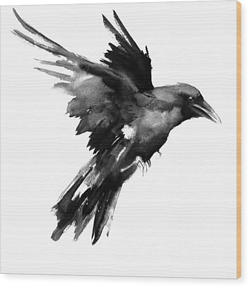 Flying Raven Wood Print