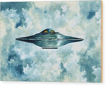 Flying Saucer Wood Print by Michael Vigliotti