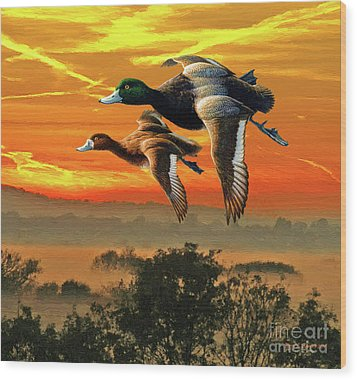 Flying South Wood Print by Jerry L Barrett