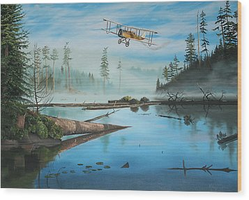Flying The Mail Wood Print by Kenneth Young
