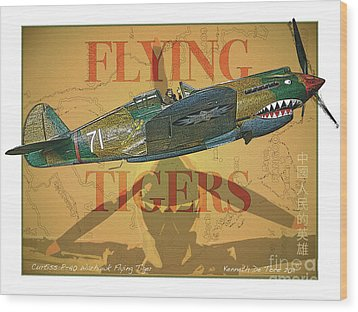 Flying Tigers Wood Print by Kenneth De Tore