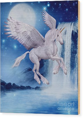 Flying Unicorn Wood Print