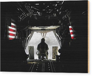 Flying With The Stars And Stripes In Afghanistan Wood Print by Jetson Nguyen