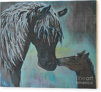 Wood Print featuring the painting Foal Kiss by Leslie Allen