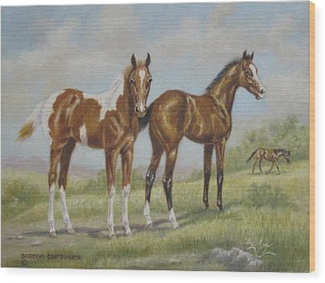 Foals In Pasture Wood Print by Dorothy Coatsworth