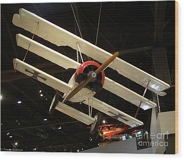 Focker Tri-plane Wood Print by Tommy Anderson