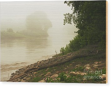 Wood Print featuring the photograph Fog Along The Red by Steve Augustin