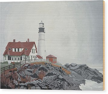 Fog Approaching Portland Head Light Wood Print by Dominic White