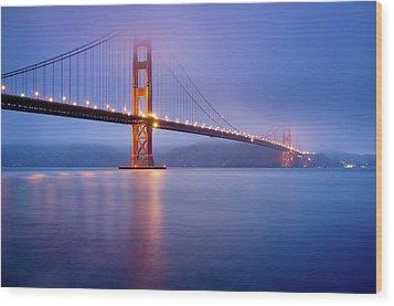 Fog City Bridge Wood Print by Jonathan Fleming