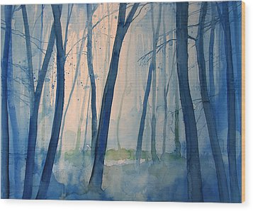Fog In The Forest Wood Print by Alessandro Andreuccetti