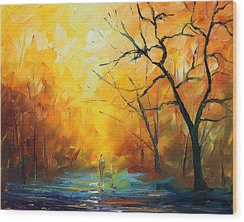 Fog New Wood Print by Leonid Afremov