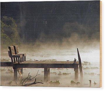 Fog On Lake Jeffords Wood Print