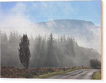 Fog On The Road To Fintry Wood Print by RKAB Works