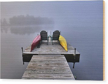 Wood Print featuring the photograph Fog On West Lake by David Patterson