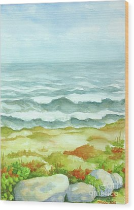 Wood Print featuring the painting Fog Over Cocoa Beach by Inese Poga