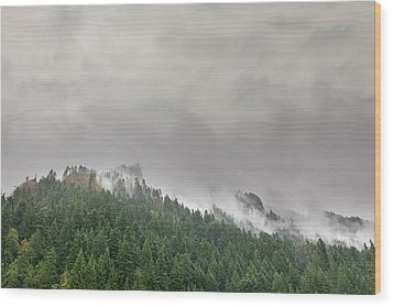 Fog Rolling Over Columbia River Gorge Wood Print