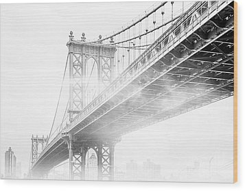 Fog Under The Manhattan Bw Wood Print by Az Jackson