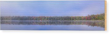Wood Print featuring the photograph Foggy Autumn Panorama by David Patterson