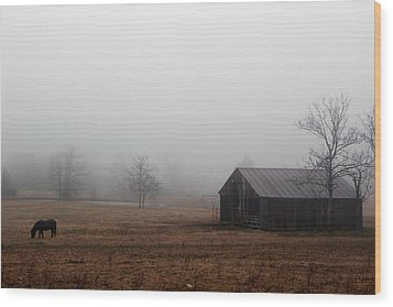 Foggy Barnyard Wood Print