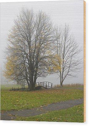 Foggy Crossing Wood Print by Alan Raasch