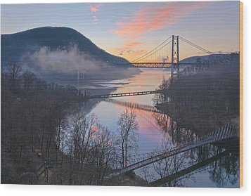 Foggy Dawn At Three Bridges Wood Print