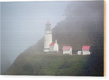 Wood Print featuring the photograph Foggy Day At The Heceta Head Lighthouse by AJ Schibig