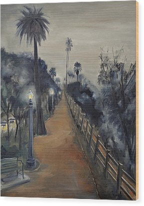 Foggy Day On Ocean Ave Wood Print by Lindsay Frost