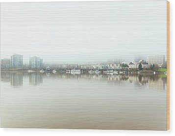 Foggy Day On Portland Downtown Waterfront Wood Print