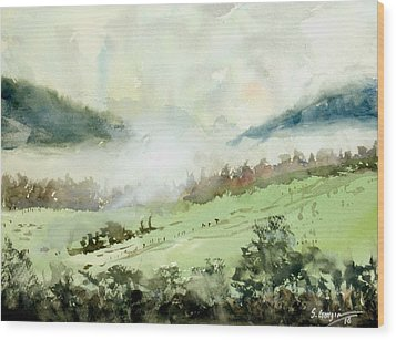 Foggy Day At Boonah, Australia Wood Print by Sof Georgiou